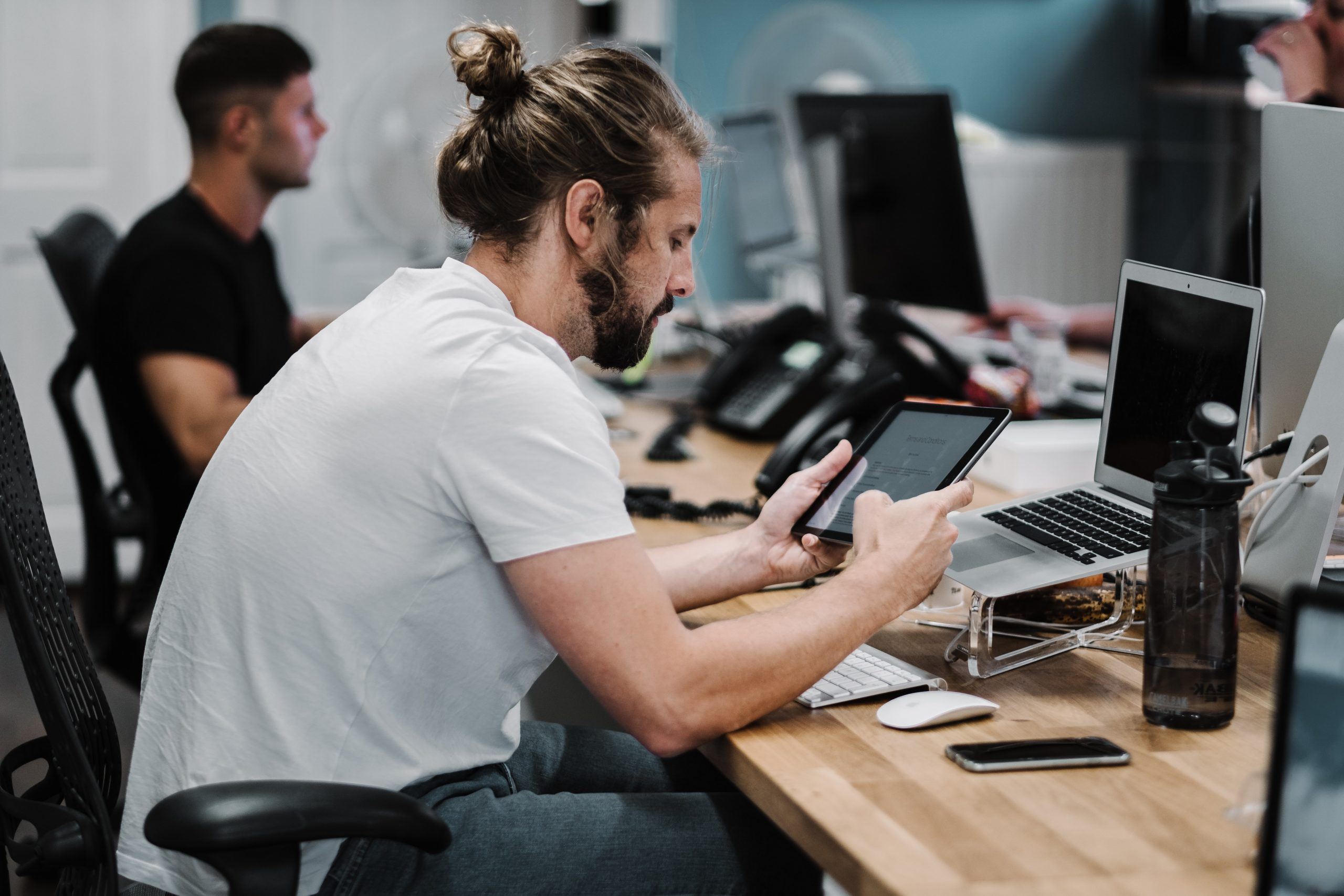 Employee Working with App